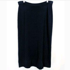 St.John Basic Santana Knit Wool Blend Midi Skirt